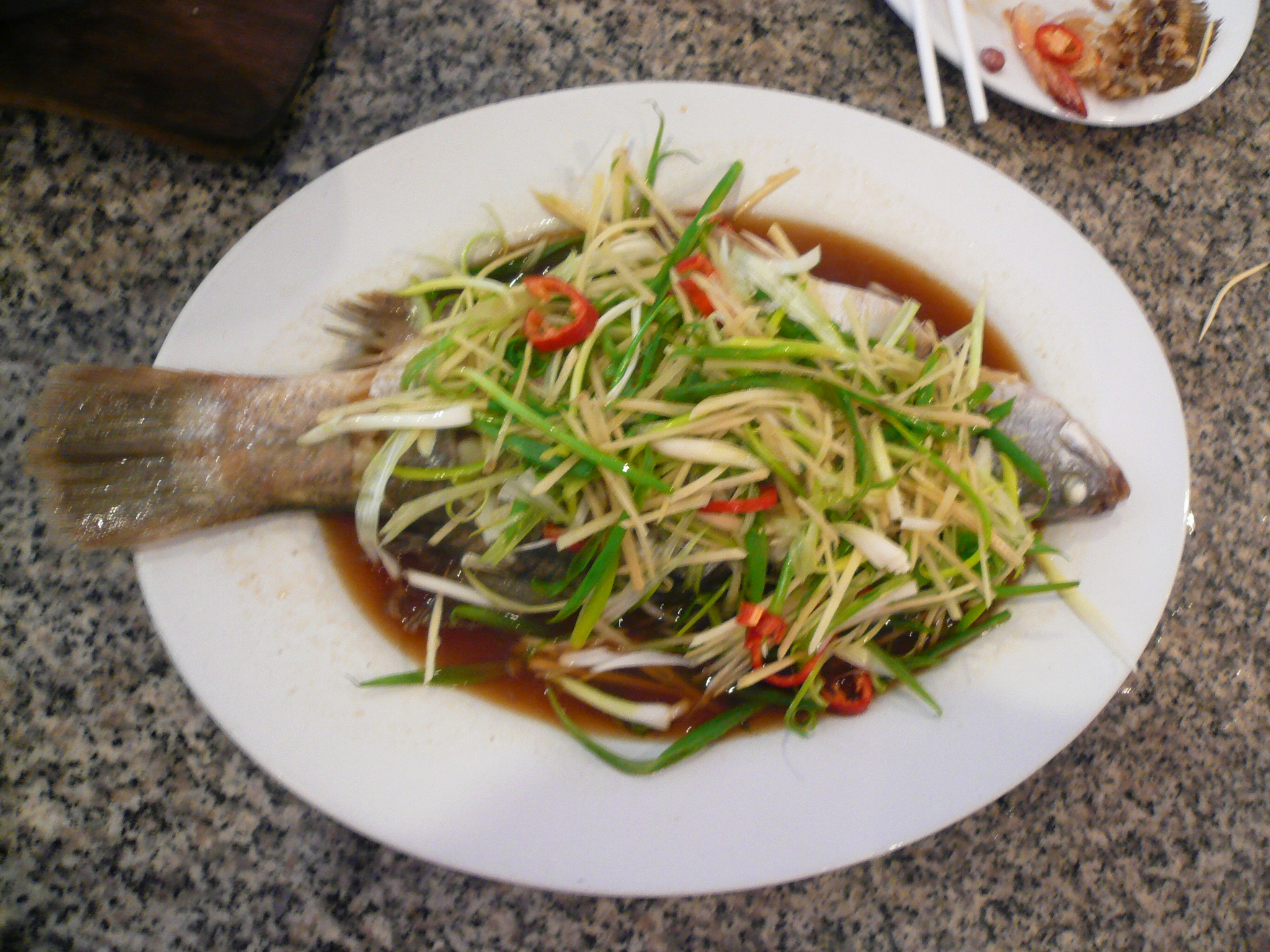 Tender, juicy and savory steamed fish. Yummy!